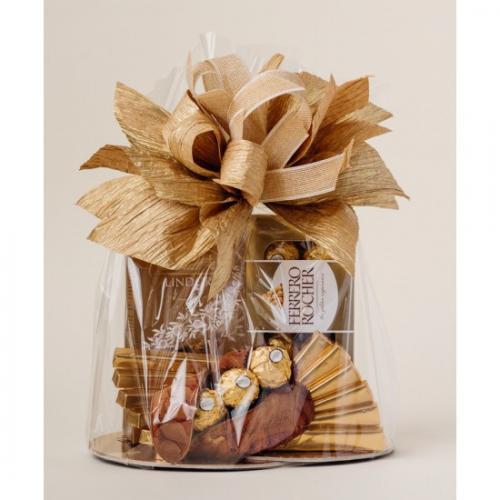 Kosz prezentowy - Lindt, Ferrero Złoto-brązowy