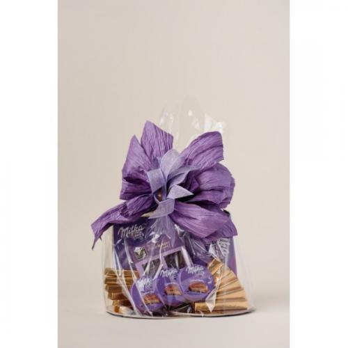 Kosz prezentowy - czekoladki Milka Fioletowy