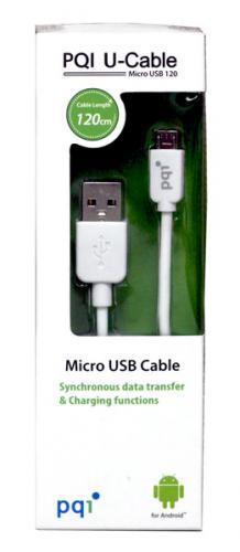 PQI u-cable przewód microUSB 120cm Biały