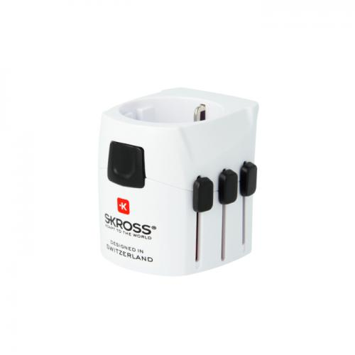 Adapter podróżny PRO Light z USB SKROSS Biały