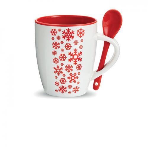 Kubek ceramiczny z łyżeczką czerwony