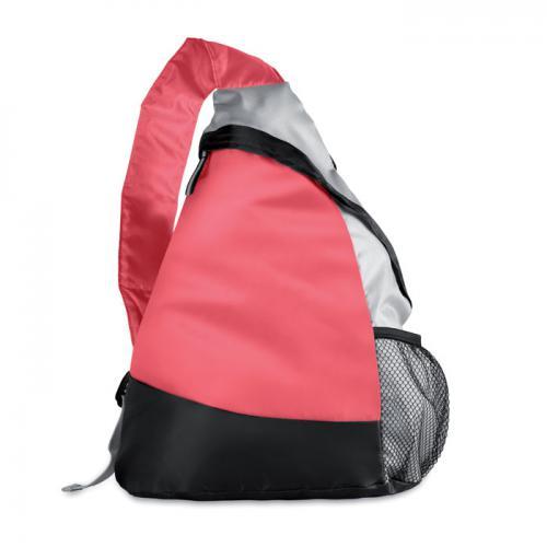Kolorowy, trójkątny plecak czerwony