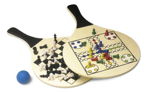 """Zestaw gier, gra plażowa tenis, """"Chińczyk"""" i szachy neutralny"""