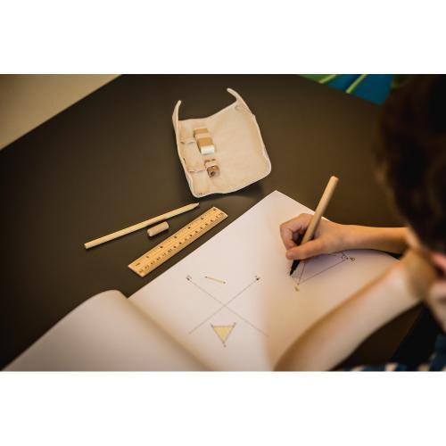 Zestaw szkolny, piórnik, linijka, ołówek, długopis, gumka i temperówka beżowy
