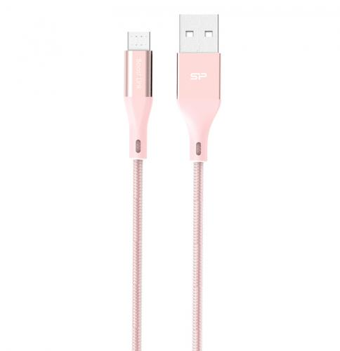 Nylonowy kabel do transferu danych LK30 Typ - B Quick Charge 3.0 różowy