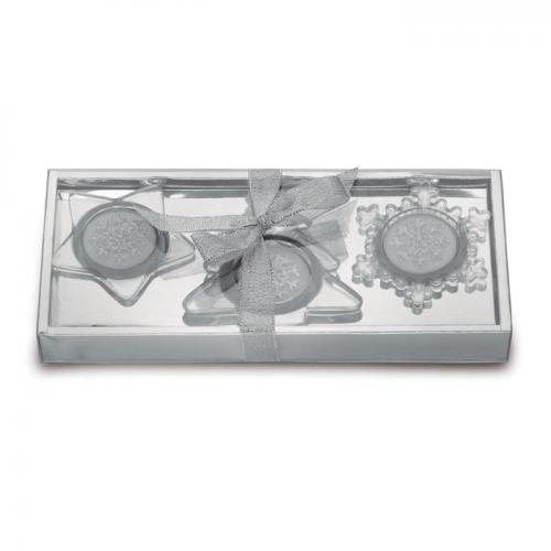3 szklane świeczniki srebrny mat
