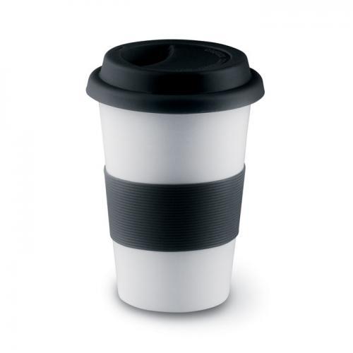 Ceramiczny kubek z przykrywką czarny