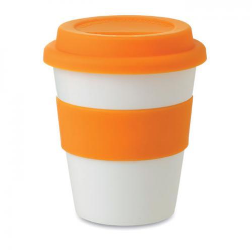 Kubek PP, silikonowe wieczko pomarańczowy