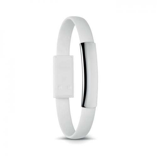 Bransoleta z mikro USB biały