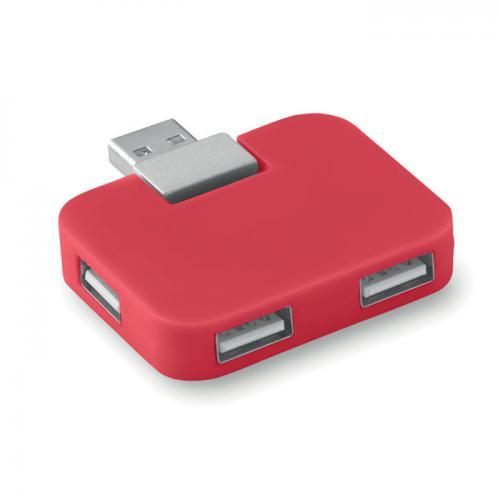 Hub USB 4 porty czerwony
