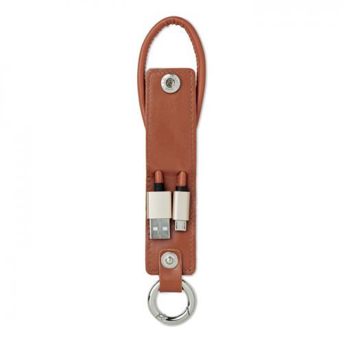 Brelok z kabelkami ładującymi brązowy