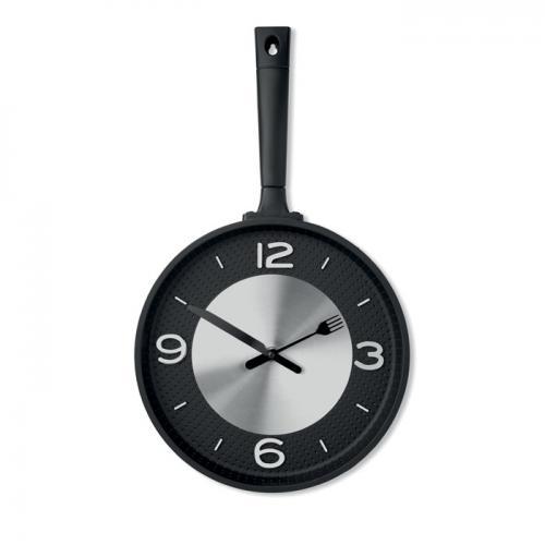 Zegar patelnia czarny