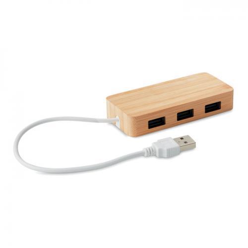 3 portowy hub USB 2.0 drewna