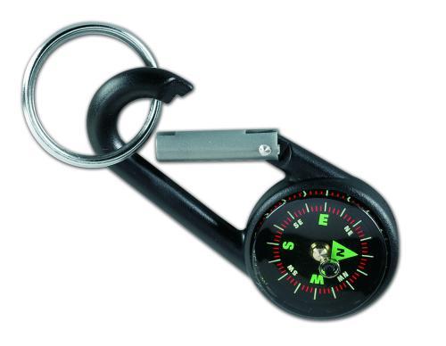 Karabinek z kompasem, brelok czarny