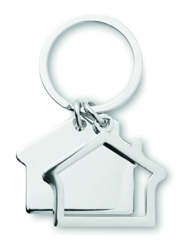 Brelok w kształcie domu srebrny błyszczący
