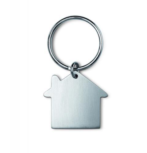 Metalowy brelok, kształt domu srebrny mat