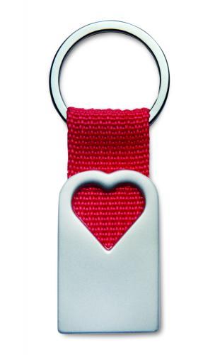 Metalowy brelok, serce czerwony