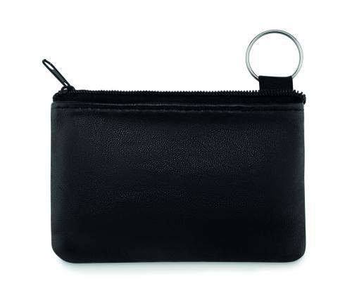 Skórzany portfel breloczków czarny