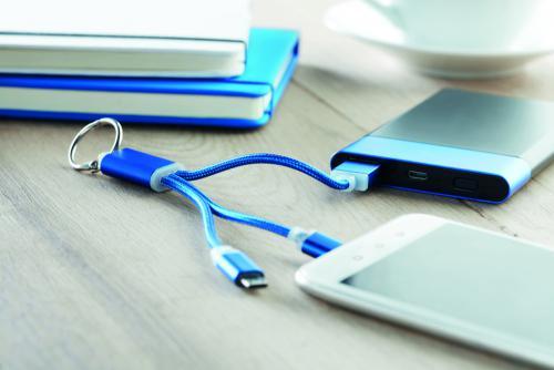 Brelok z kabelkami ładującymi niebieski