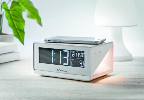 Zegar/bezprzewodowa ładowarka biały