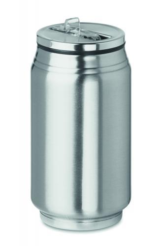 Kubek z otwarciem typu puszka srebrny mat