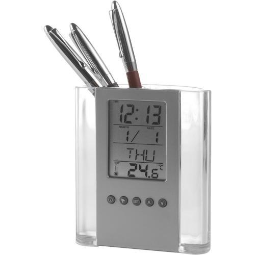 Pojemnik na długopisy, zegar wielofunkcyjny neutralny