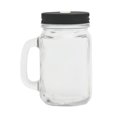 Słoik do picia, butelka 500 ml, słomka czarny