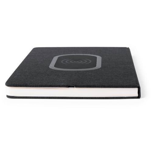 Notatnik A5, ładowarka bezprzewodowa czarny