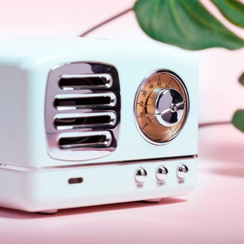 Głośnik bezprzewodowy 3W w stylu retro, radio biały