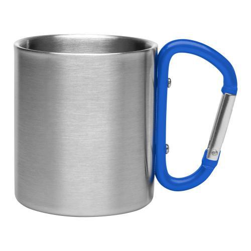 Metalowy kubek 200 ml z karabińczykiem niebieski