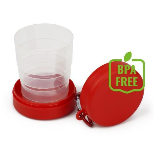 Składany kubek 220 ml z karabińczykiem czerwony