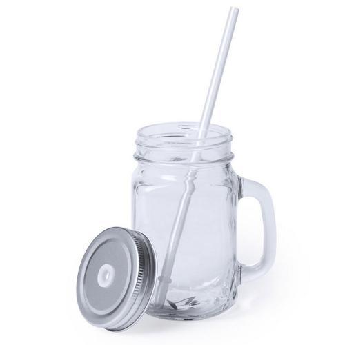 Słoik do picia, butelka 500 ml, słomka srebrny