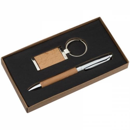 Zestaw długopis i brelok ENSCHEDE brązowy