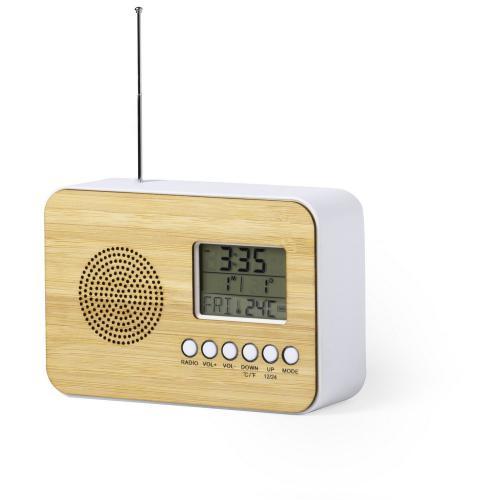 Zegar na biurko z alarmem, radio brązowy