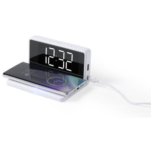 Ładowarka bezprzewodowa 5W, zegar na biurko z budzikiem biały