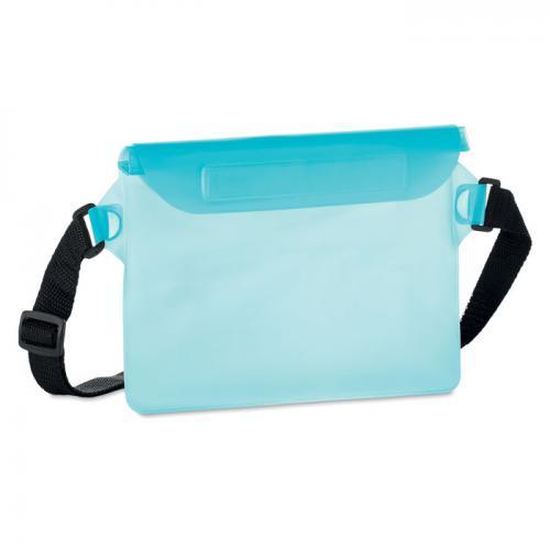 Wodoodporna torba na biodro przezroczysty niebieski