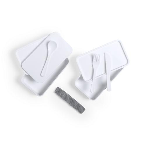 Antybakteryjne pudełka śniadaniowe 2 szt., 2x700 ml, sztućce biały