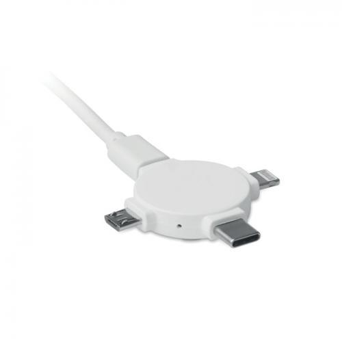 Adapter do kabli 3 w 1 biały