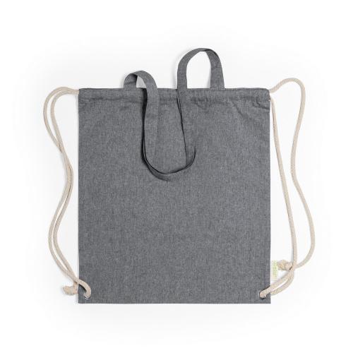 Worek ze sznurkiem i torba na zakupy z bawełny z recyklingu, 2 w 1 czarny