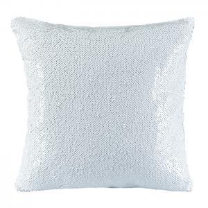 Poduszka z cekinami biało-biała
