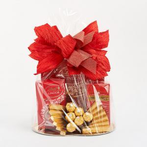 Kosz prezentowy - Czerwona kokarda, czekolady Lindt