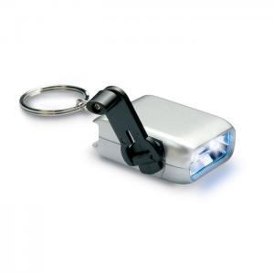 Mini latarka LED na dynamo srebrny