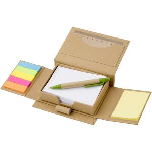 Karteczki samoprzylepne, długopis, linijka