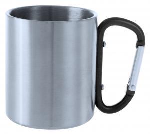 Metalowy kubek 200 ml z karabińczykiem czarny