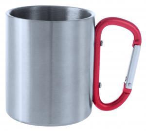 Metalowy kubek 200 ml z karabińczykiem czerwony