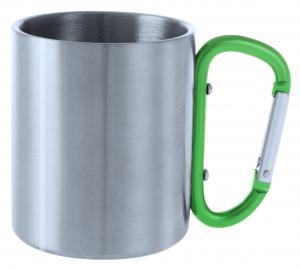Metalowy kubek 200 ml z karabińczykiem zielony