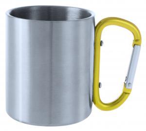 Metalowy kubek 200 ml z karabińczykiem żółty