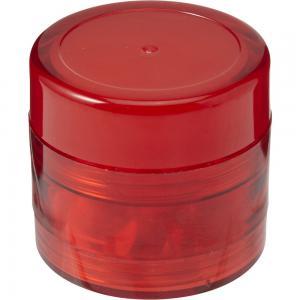 Pojemnik z miętówkami, balsam do ust czerwony