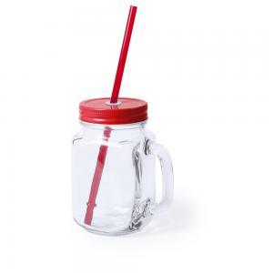Słoik do picia, butelka 500 ml, słomka czerwony