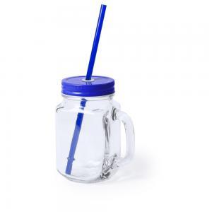 Słoik do picia, butelka 500 ml, słomka niebieski